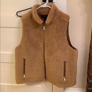 JCrew plush fur vest camel